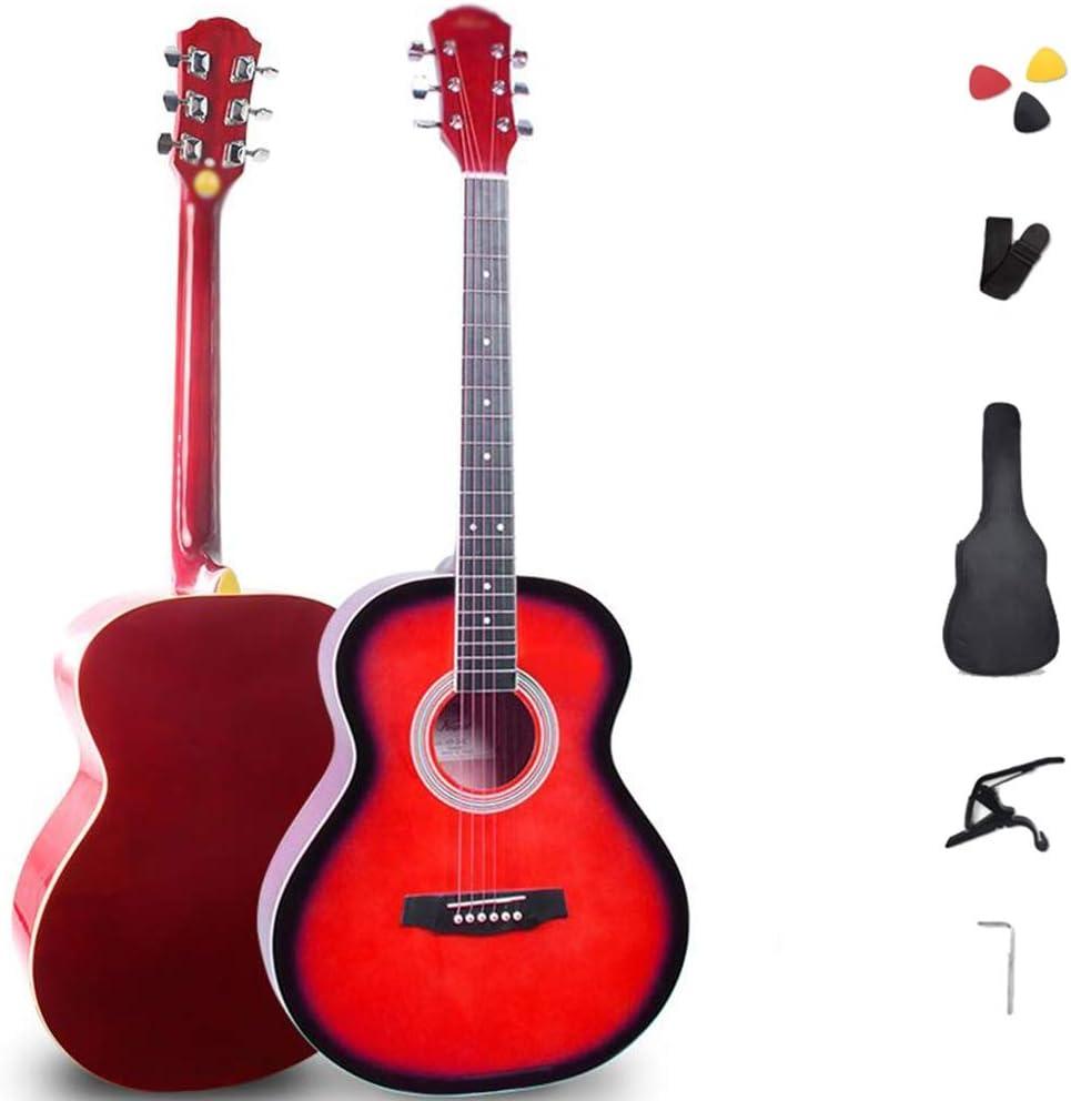 Guitarra Acústica Principiante 41 Pulgadas Tilo 6 Cuerdas De Acero Guitarra Correa Cuerdas De Repuesto Recoger Acorazado Guitarra De Viaje Sonido, 5 Colores Gdming