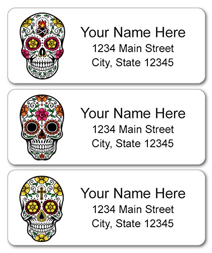 [Personalized Return Address Labels - Skulls with Flowers - 120 Custom Halloween Gift Stickers] (Customs Ideas For Halloween)