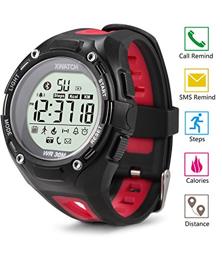 Outdoor Waterproof LED Digital Sports Watch, Smart Watch with Fitness tracker Activity Monitor Call SMS Reminder for Android and IOS Red, EIISON
