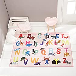 "Home Dynamix Eric Carle Elementary Pink Alphabet Area Rug 35""x51"", Graphic/Print Alphabet Pink/Blue/Yellow"