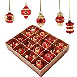 Valery Madelyn 16ct Luxury Gold Shatterproof Christmas Ball Ornaments Decoration with String Pre-Tied, 16 Pcs Metal Hooks Included, Themed with Tree Skirt(Not Included)
