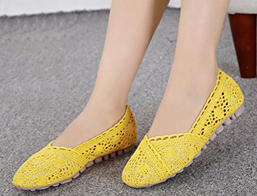 Soojun Womens Cute Soft Crochet Slip on Flats Yellow Pudt5T