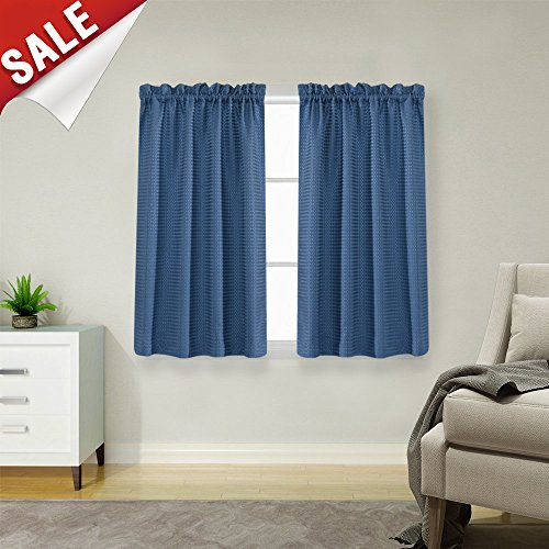 Waffle-Weave Tier Curtains for Kitchen Water Repellent Bathroom Curtain Panels (72