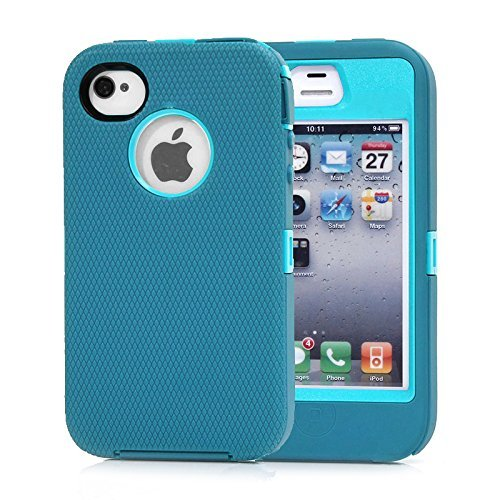 Huaxia Datacom for Iphone 4 4s Heavy Duty Shockproof Dirtproof Defender Case Cover w/ Built-in Screen Protector-green (Light blue)