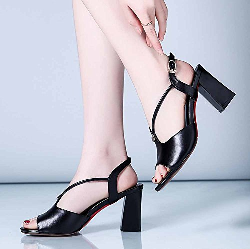 Slingback Sandali Buckle Tacchi Leather Peep Nero Toe New donna alti Summer 2018 cH8BZAc1U
