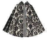 Cykxtees Victorian Historical Steampunk Gothic Renaissance Short Capelet Gray Black
