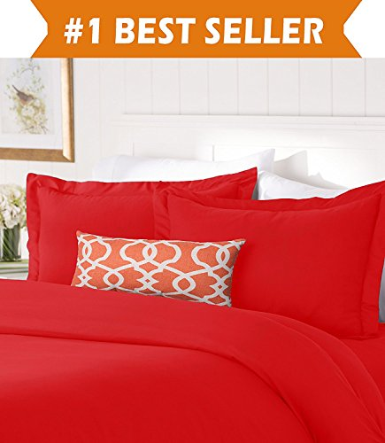 Elegant Comfort #1 Best Bedding Duvet Cover Set! 1500 Thread Count Egyptian Quality Luxurious Silky-Soft WRINKLE FREE 3-Piece Duvet Cover Set, Full/Queen, Red (Red Quilt Cover Sets)