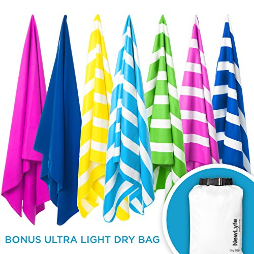 "Microfiber Beach Towel with Bonus Waterproof Dry Bag - Quick Dry, Sand Free, Large yet Compact and Lightweight - best Travel Beach Towel, Swim Towel, Pool Towel or perfect as Beach Blanket (70x31"") (Adult Towels Beach)"