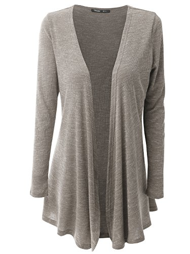 JayJay Women Open Front Casual Knit Long Sleeve Sweater Classic Cover Up Cardigan,Mocha,L