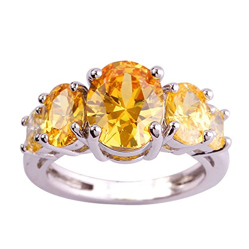 Empsoul 925 Sterling Silver Natural Fancy Filled 5cttw Citrine Topaz Bridal Engagement Ring (Citrine Topaz Rhinestone)