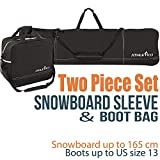 Athletico Two-Piece Snowboard and Boot Bag Combo | Store & Transport Snowboard up to 165 cm and Boots up to Size 13 | Includes 1 Snowboard Bag & 1 Boot Bag