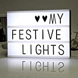 Cinematic Light Box with 85 Letters ,A4 size Free Combination Cinema Light Box DIY LED Letter Lamp for Home Decor, Photoshoots, Birthday Party ,Christmas Gift( Extra 85 Emoji Signs )