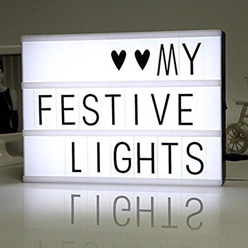 Cinematic Light Box with 85 Letters ,A4 size Free Combination Cinema Light Box DIY LED Letter Lamp for Home Decor, Photoshoots, Birthday Party ,Christmas Gift( Extra 85 Emoji Signs ) (12 Theater Boxes)