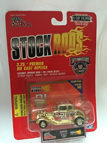 - RACING CHAMPIONS STOCK RODS 50th ANNIVERSARY CAR # 21 GOLD COLOR '32 FORD COUPE ISSUE NO 142 3.25