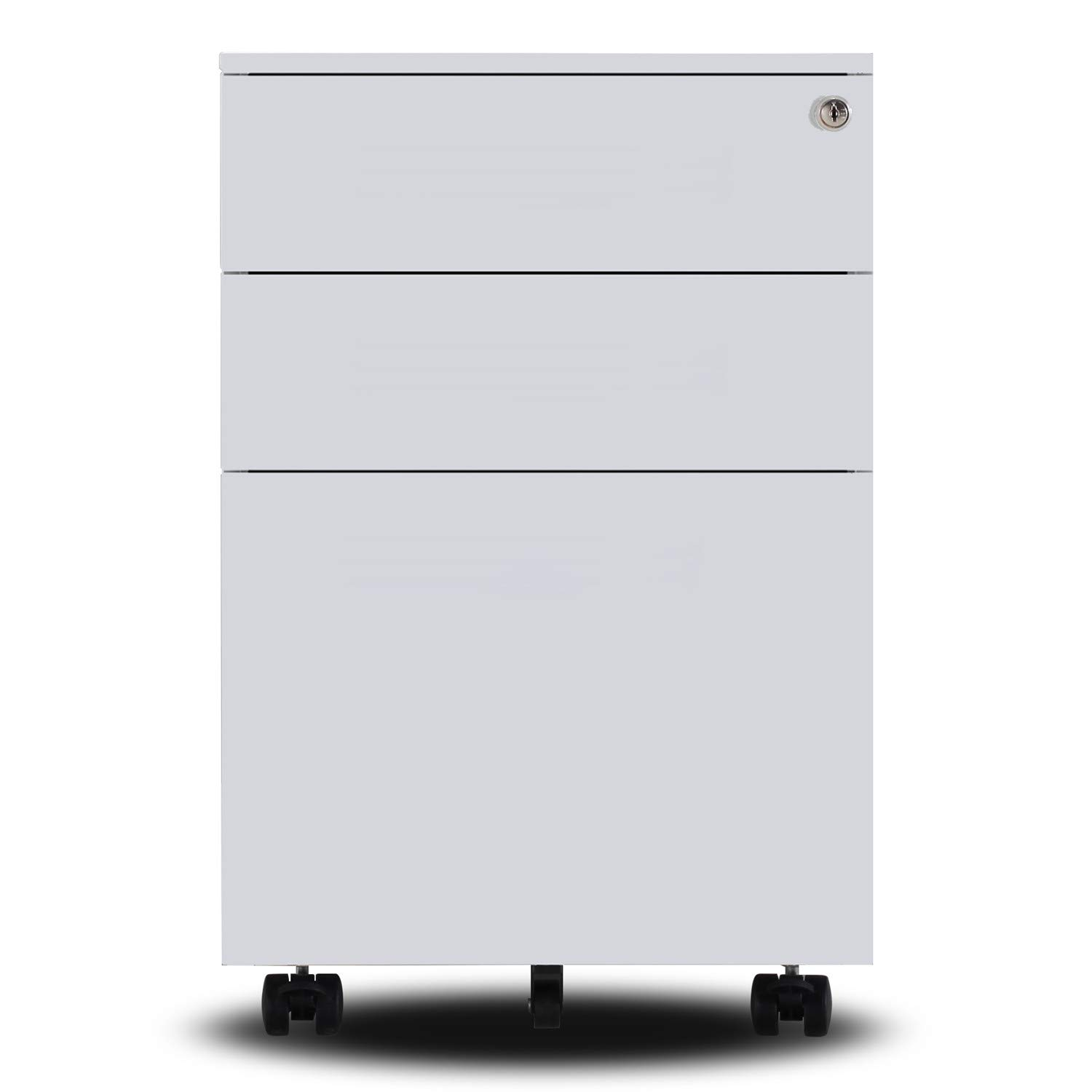 Ootori 3-Drawer Mobile Letter File Cabinet with Keys,Locking Filing Cabinet on Wheels(White) by OOTORI