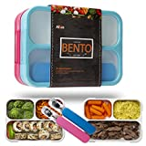 Leakproof Bento Lunch Box Container For Kids and Adults. Leakproof Containers with 3 compartments. 2 Sets of Stainless Steel Spoons and Forks with Travel Cases. Food Prep Meal Container. Blue and Pink