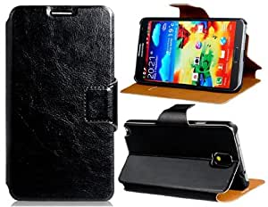 CECT STOCK Stand curpiel tirón caso con cierre magnético y ranuras para tarjetas para Samsung Galaxy nota 3 (negro)