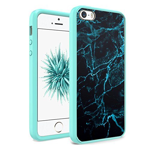 iPhone SE Case, iPhone 5s / iPhone 5 Case, Capsule-Case Hybrid Slim Hard Back Shield Case with Fused TPU Edge Bumper (Teal Green) for iPhone SE / iPhone 5s / iPhone 5 - (Blue Marble Print)