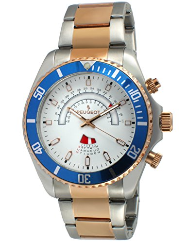 Peugeot Men's Masculine Two-Tone Silver & 14K Rose Gold Plated Large Big Face Stainless Steel Blue Bezel Day Date Dress Watch 1048TT