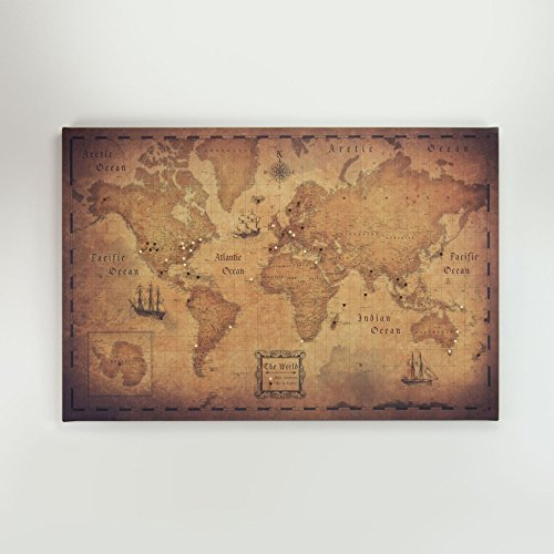 world travel map pin board golden aged