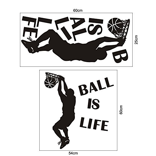 Mlide Ball is Life Sport Playing Basketball Wall Sticker, Mural Decor Decal Removable Wall Paper(Black,Free ()