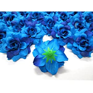 "(100) Silk Two Tone Blue Roses Flower Head - 1.75"" - Artificial Flowers Heads Fabric Floral Supplies Wholesale Lot for Wedding Flowers Accessories Make Bridal Hair Clips Headbands Dress 3"