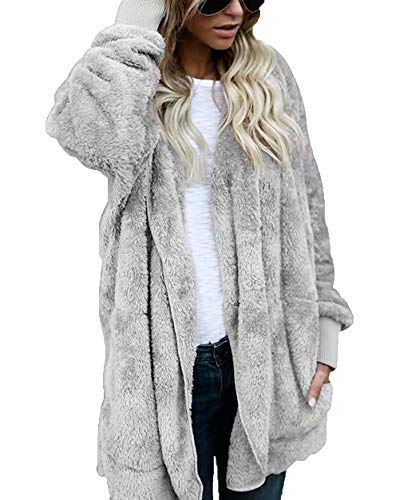 (Women's Jacket Open Front Hooded Draped Pockets Oversized Plush Cardigan Gray XXXL)