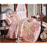 BEIRU Tencel Modal Satin Jacquard Lace Four Cotton wedding sheets ZXCV (Color : 6, Size : 220240)