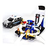 WDXIN Children's Deformation Police Car Parking Lot Model Alloy Car Toy with Music Lights Can Be Inserted Into The Building Blocks Gift for All Children Over 3 Years Old