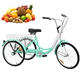 H&ZT Adult Tricycle Trike 3 Wheeled Cruiser Bike with Large Basket and Maintenance Tools, 24 Inch Wheel Size Bike Trike, Men's Women's Cruiser Bike (Cyan, Single Speed)