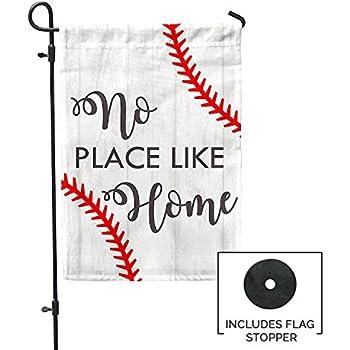 "No Place Like Home Baseball Garden Flag Outdoor Patio Seasonal Holiday Fabric 12.5""X18"""