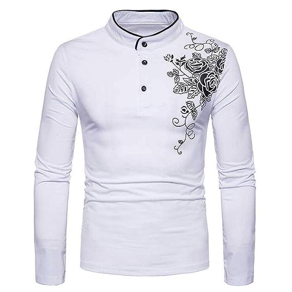 SANFASHION La Blusa Superior de la Manga Larga de la Camiseta de los Hombres  de la impresión de Autumn Fashion Casual Buttons  Amazon.es  Ropa y  accesorios d8aa43f018e4b