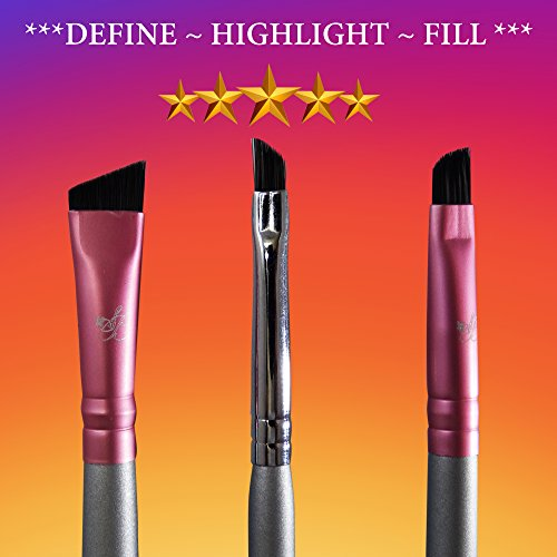 Eyebrow Brush Set - Precision Small Angle Filling - Angled Contour Definer Brush- Medium Angled Duo Spoolie - Premium Synthetic brushes FIRM HAIR Precision Shaping, Eye Brow Brush for Defined Arches (Shadow Defining Liner Eye Duo)