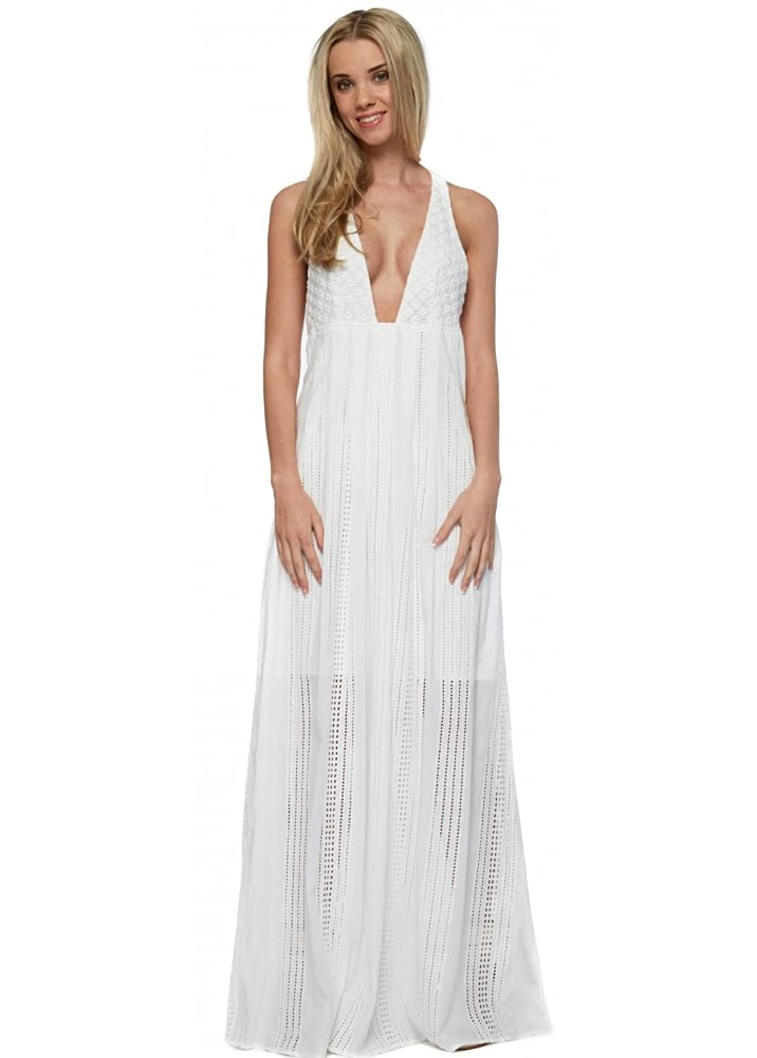 The Jetset Diaries North Of Fira Maxi Dress In White Cotton