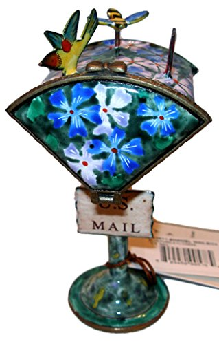 Kelvin Chen Colorful Blue Malva Flowers Hand Painted Decorative Enamel Mailbox Stamp Holder