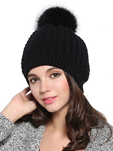 Urban CoCo Women's Winter Knitted Warm Bilayer Beanie Hat with Fur Ball (Black)