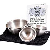 Big Bath Bomb Molds Stainless Steel Bath Bomb Molds Professional Set, 3 Sizes: Large, Medium, Small. Heavy Duty Metal, Dent & Rust Proof. Storage Bag, Instructions, Recipe Ebook by Healthy Home Helper.