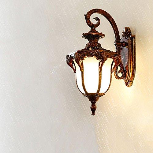 Wsxxn European Retro Outdoor Waterproof Wall Lamp American Elegant Patio Wall Light Balcony Living Room Corridor Corridor Garden Wall Lamp (Color : Amber, Size : High 38cm)