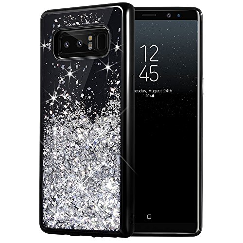 Galaxy Note 8 Case, Caka Galaxy Note 8 Glitter Case [Starry Night Series] Luxury Fashion Bling Flowing Liquid Floating Sparkle Glitter Girly TPU Bumper Case for Samsung Galaxy Note 8 - (Silver)