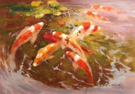 ポリエステルキャンバス、美しいアートの装飾プリントキャンバスの油絵` Carps In The Pond `、16x 23インチ/ 41x 58cmはBest for寝室アートワークとホーム装飾、ギフトの商品画像