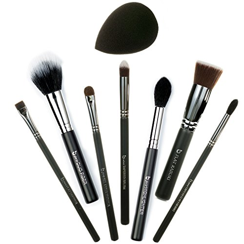 p Brush Set Includes Flat Top Kabuki, mini Tapered, Tapered Blending, All Over Shader, Flat Definer, Duo Fiber, Highlighter, Black Teardrop Makeup Sponge ()