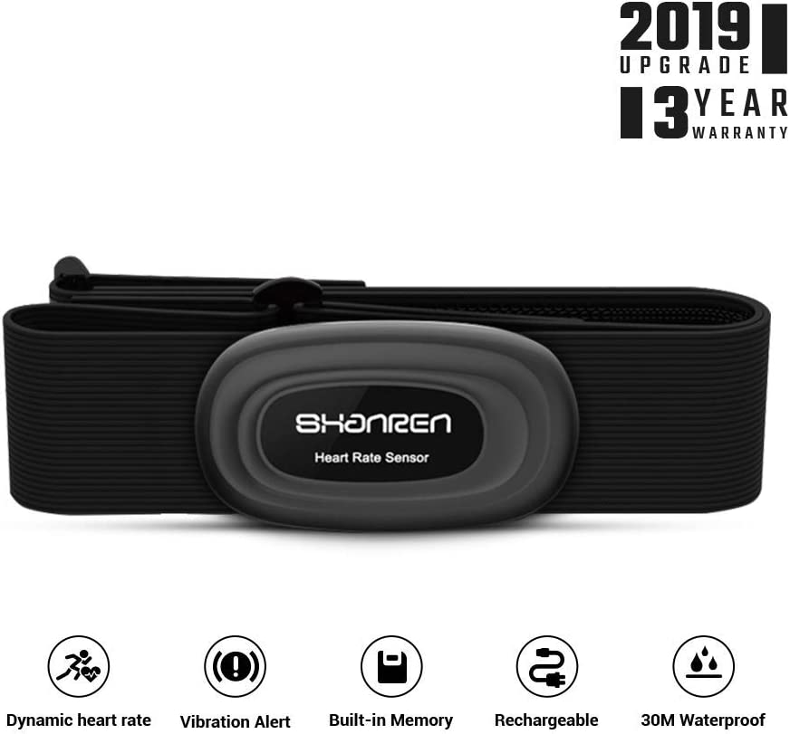 Heart-Rate-Monitor Chest-Strap Beat 20 Rechargeable Fitness Tracker with Vibration Alert, Bluetooth ANT Activity Tracker, IP68 30m Waterproof, 100 Sessions Memory Beat 20