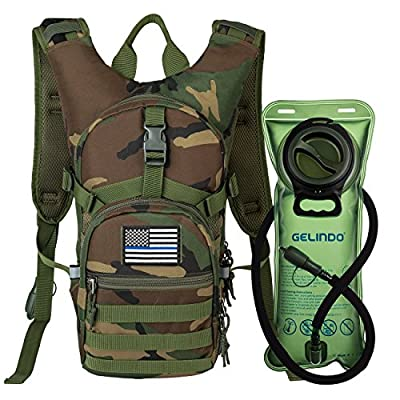 Gelindo Military Tactical Hydration Backpack with 2L Water Bladder Light Weight MOLLE Tactical Assault Pack for Hiking Biking Running Walking Climbing Outdoor Travel