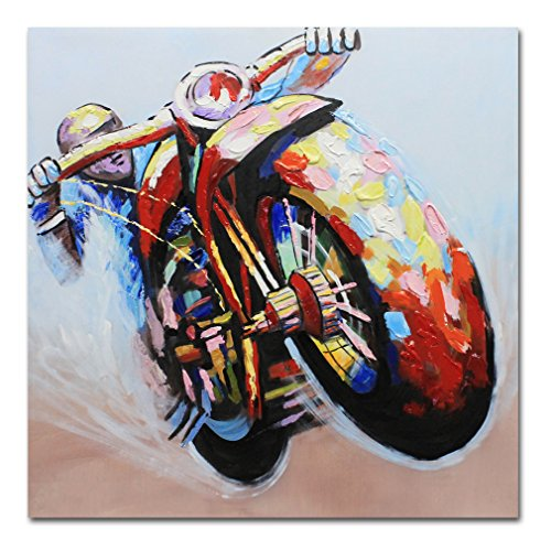 Muzagroo Art Oil Painting Riding a Motorcycle Hand Painted Huge Size Painting Canvas Art for Home Unframed 40x40in unstretched