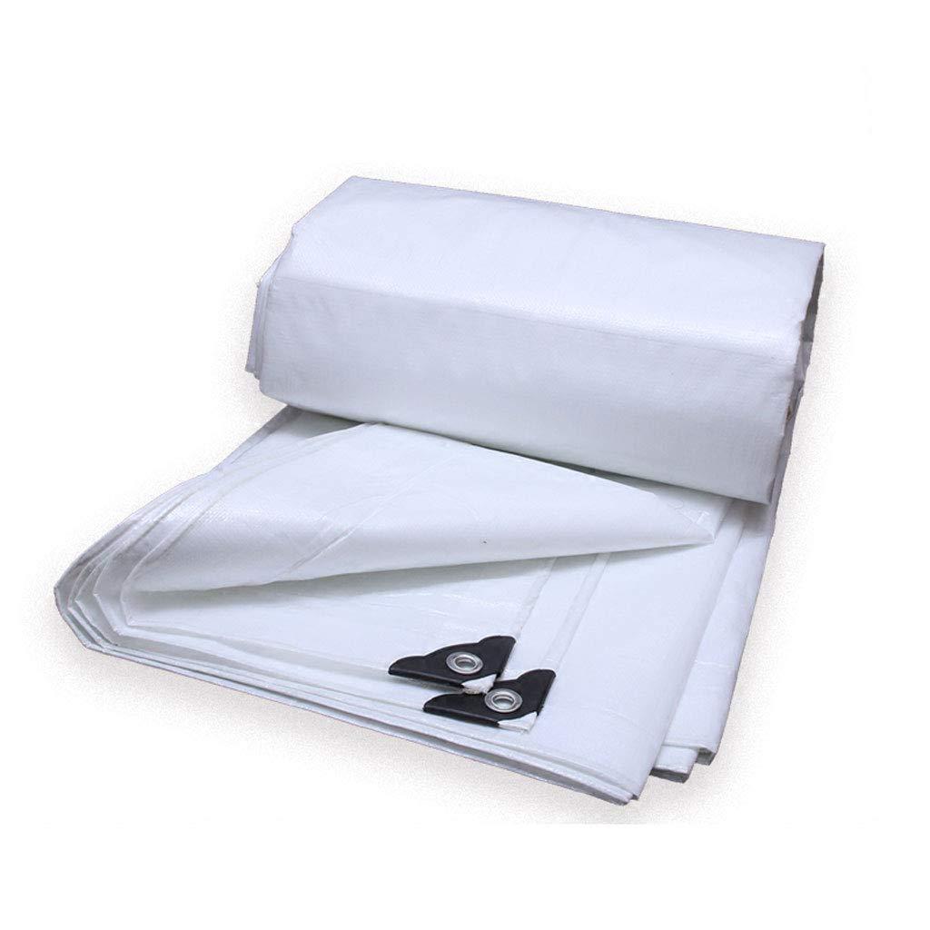 QLLYB Im Freien regendichter Stoff Weiße Starke Planensonnenschutzwasserdichte Sonnenschutzplane für Dreiradauto-LKW-Schutz, Verschiedene Größen (größe   3M5M)