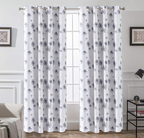 DriftAway Dandelion Floral Botanic Lined Thermal Insulated Blackout/Room Darkening Grommet Energy Saving Window Curtains, 2 Layer, Set of Two Panels, Each Size 52