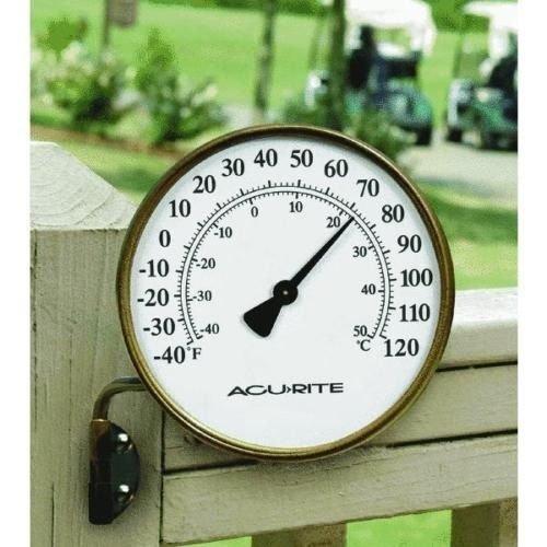 Acu-rite 00334 Indoor/outdoor Decorative Aged Brass Metal Thermometer (Brass Metal Thermometer)