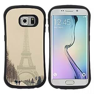 """Pulsar iFace Series Tpu silicona Carcasa Funda Case para Samsung Galaxy S6 EDGE , Invierno Torre Eifel Pastel Ciudad Romántica"""""""