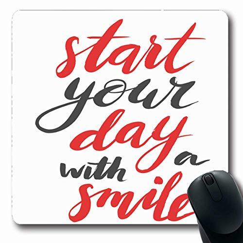 Ahawoso Mousepads Brushpen Gray Brush Start Your Day Smile Modern Teeth Call Vintage Red Creative Fresh Good Design Oblong Shape 7.9 x 9.5 Inches Non-Slip Gaming Mouse Pad Rubber Oblong Mat