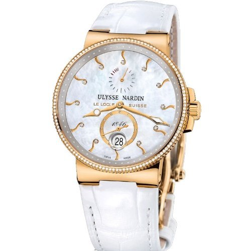 New Ladies Ulysse Nardin Maxi Marine Diver Chronometer Solid 18K Rose Gold Diamonds Watch 266-66B/991 (Maxi Ulysse Nardin)